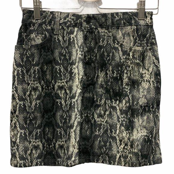Zara Mini Skirt Denim Snake Print Black White